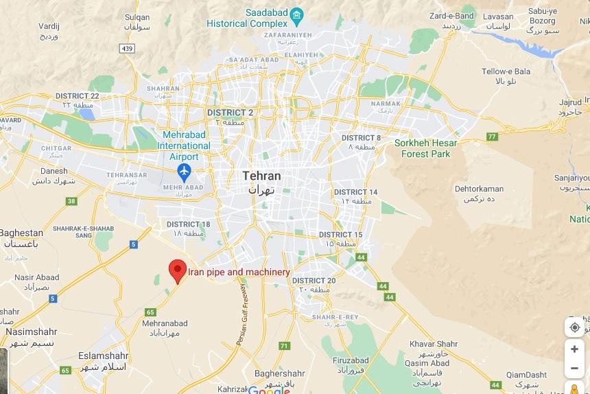 لوکیشن شرکت لوله و ماشین سازی ایران